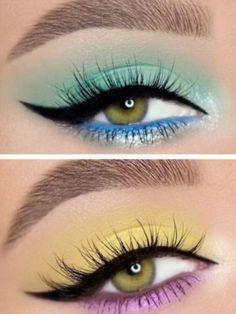 Eye Makeup Steps, Makeup Eye Looks, Eye Makeup Art, Crazy Makeup, Eyeshadow Makeup, Pastel Eyeshadow, Eye Makeup Images, Glitter Eyeshadow, Colorful Eyeshadow