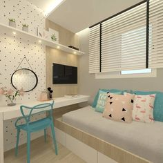 37 Trendy ideas for bedroom design dream rooms teenagers desks Teenage Girl Room Decor, Teen Room Decor, Bedroom Decor, Small Room Bedroom, Trendy Bedroom, Girls Bedroom, Modern Teen Bedrooms, Deco Addict, Cute Bedroom Ideas