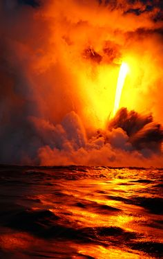 Picture of lava falling on water
