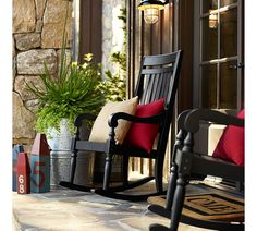 Trendy Black And Red Distressed Furniture Pottery Barn Rocking Chair Porch, Outdoor Rocking Chairs, Red Distressed Furniture, Pottery Barn, Outdoor Sconces, Outdoor Decor, Indoor Outdoor, Outdoor Living, Outdoor Ideas