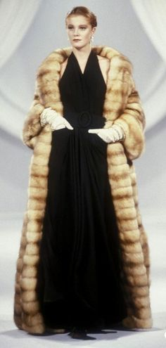 1989 Christian Dior, Autumn-Winter, Couture ~ Floor length fur! The importance of fur was for severe freezing weather...they just aren't needed as they once were ~