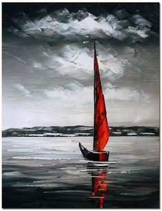Signed Hand Painted Modern Abstract Boat Seascape Oil Painting On Canvas in Art, Artists (Self-Representing), Paintings | eBay