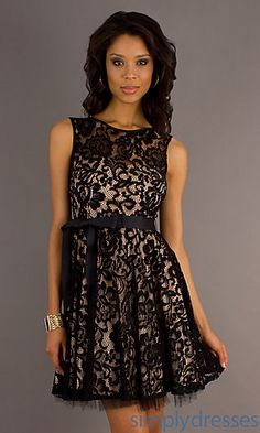 Short Sleeveless Black Lace Dress