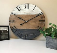 18 inch handcrafted clock. Farmhouse style clock. Wall clock. Rustic wall clock by FarmHouseClockDesign on Etsy