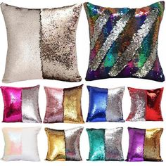 Cheap sofa chair, Buy Quality sofa damask directly from China decorative pillows sofa Suppliers: Reversible Sequin Mermaid Throw Pillow Cushion Cover Car Home Decoration Sofa Bed Decor Decorative Pillowcase 40043 Throw Cushions, Diy Pillows, Throw Pillow Covers, Cushion Covers, Sequin Pillow, Sequin Fabric, Sofa Bed Decor, Living Room Decor Pillows, Sequins