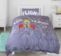 Stoer kinderdekbedovertrek voor kinderen die de ruimte een keer willen ontdekken! Als een echte astronaut worden ze in hun dromen via een raket naar de ruimte gebracht. Comforters, Blanket, Bed, Creature Comforts, Blankets, Stream Bed, Carpet, Beds, Duvet