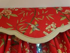 Bespoke handmade curtains in GPG Baker Fabric with tassel leading edge and matching pelmet.  By Kirsty Lockwood Furnishings. www.kirstylockwood.co.uk