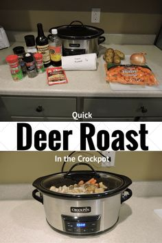 Deer Roast in the crockpot. Our family loves to cook venison. Quick and easy and feeds the whole family. Crockpot cooking is the most convenient way to cook Crock Pot Recipes, Deer Recipes, Roast Recipes, Slow Cooker Recipes, Cooking Recipes, Game Recipes, Recipies, Cooking Game, Cooking Ideas