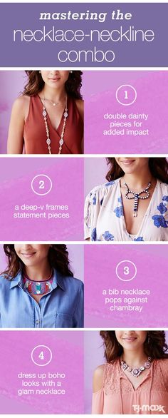 Whether it's a dainty chain or a large pendant, different necklaces look best paired with different necklines of your favorite fall outfits. Here's your jewelry pairing guide for putting together combinations you'll love, including statement necklaces, layered necklaces and more. Inspired? Shop jewelry at http://tjmaxx.com.