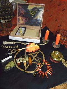 Altar-Set-Kit-Wicca-Cigar-Box-You-Fashion-Love-Spell-Bottles-Maple-Wood-Syrup