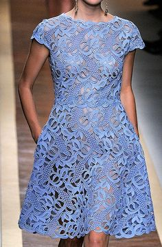 Valentino lace dress in periwinkle blue