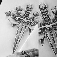 Custom dagger roses design for @roy.golsteijn ⚡️⚡️ #skull #dagger #edwardmiller