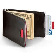 Wally Minimal Leather Wallet with Pull-Tab and Money Clip