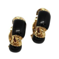 Clip-On Hoop Earrings With Gold Colored Twists and Black Sections