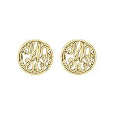 Alison & Ivy - Classic Monogram Stud Earrings 10mm - Customizable... ($185) ❤ liked on Polyvore featuring jewelry, earrings, metal jewelry, initial stud earrings, ivy jewelry, initial jewelry and monogram jewelry