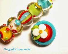 Groovy Baubles, bright and cheery lampwork glass bead set by Heather Sellers.