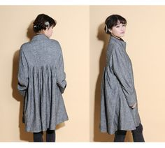 Free Style Pleated Linen Long Jacekt/ Cape/ Heather by Ramies