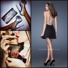 La Femme style 19441 black - little black dress - homecoming dress - prom  dress - new years dress - lipstick - color - silver - heels - clutch -  evening bag ... d1e8b093aa5