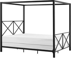dhp rosedale modern romance metal queen canopy bed in black