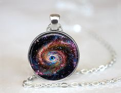 Eye of the Galaxy Necklace   Silver 1 Circle by 42PurpleElephants