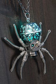 Steampunk Jewelry  Necklace  Glowing Spider by CatherinetteRings