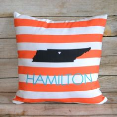 Custom State Throw Pillow from Monogram Lane.  Great housewarming gift!