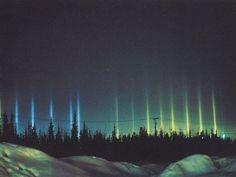 Colourful light pillars often appear in winter when snow or ice crystals reflect light from a strong source like the sun or moon. Aided by extreme cold, light pillars appear when light bounces off the surface of flat ice crystals floating relatively close to the ground.