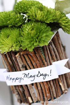 May Day Baskets made from individual yogurt containers and twigs