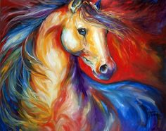 """""""RED STALLION II"""" by Marcia Baldwin: Capturing the wild horse mustang on canvas, I try to give the viewer the sense of freedom, bold and expressive brush stokes in bold color, to convey the extraordinary beauty of the Wild Horse. Horse Drawings, Artist Portfolio, Painting Edges, Painting Abstract, Equine Art, Horse Art, Art Plastique, Animal Paintings, Horse Paintings"""