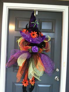 Fancy Witch Halloween wreath by CindysSilks on Etsy, $88.00