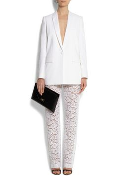 Givenchy White Lace Pants + Blazer = Perfection.