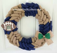 University of Notre Dame burlap wreath  Notre by TheCraftinBear