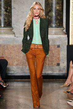 Love this shade of green on that sheer top underneath...gold accents and a bold red lip would make it pop!!! Spring 2015 Ready-to-Wear - Emilio Pucci