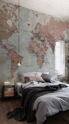 Our Classic World Map Mural is a beautiful design that is akin to old retro style textbook maps combining wonderful colour with superb detail all over. This is a glorious mural that will give you that amazing feature wall in any room of the home.The Classic World Map Mural will look stunning in any room of the home, particularly the study or office areas and will also match perfectly any colour scheme or interior design ideas that you might have. #wallpaper #mural #wallmural #interiorandhome