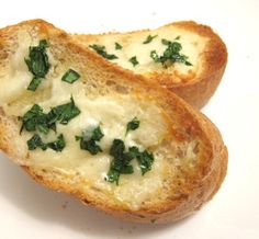 Healthy Garlic Bread. Wheat bread and olive oil instead of white bread and butter. Must try!