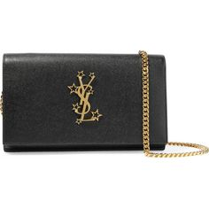 Saint Laurent Monogramme textured-leather shoulder bag ($1,150) ❤ liked on Polyvore featuring bags, handbags, shoulder bags, polka dot handbags, yves saint laurent purse, shoulder hand bags, shoulder handbags and chain strap purse