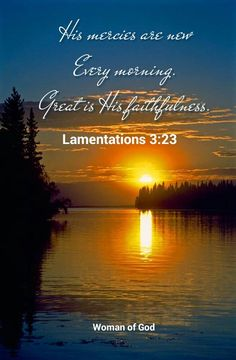 LAMENTATIONS 3:23. His mercies are new every morning...great is His faithfulness!