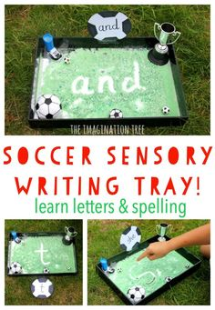 Soccer sensory writing tray; literacy activity for kids!