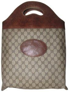 6302094c88ec Gucci Mint Vintage Rare Early High-end Bohemian Supreme Or Shopper Tote in  brown large G logo print coated canvas and brown leather