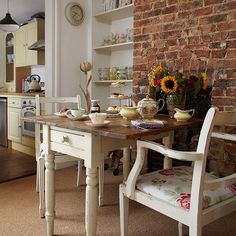 Country dining room with brick feature wall | Dining room decorating | Ideal Home | Housetohome.co.uk