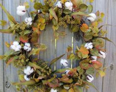 Fall Wreath - Fall / Everyday Cotton Wreath -  Green and White Natural Wreath with Cotton - Rustic Wreath