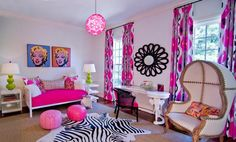 Bright Pink  Bedroom with Black Wall Artwork Girls Bedroom Decorating Ideas with Black Artwork