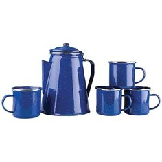 NEW !! Stansport Enamel 8 Cup Percolator Coffee Pot with 4 Mug Set Camping DescriptionCup Percolator Coffee Pot with 4 Mug Set Camping Enj