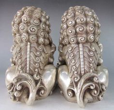 Pair Chinese Home Fengshui Silver Guardian Lion Foo Fu Dog Male Female Statue | eBay