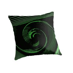 Green spiral, abstraction, visual, optical illusion by cool-shirts   Also Available as T-Shirts & Hoodies, Men's Apparels, Women's Apparels, Stickers, iPhone Cases, Samsung Galaxy Cases, Posters, Home Decors, Tote Bags, Pouches, Prints, Cards, Mini Skirts, Scarves, iPad Cases, Laptop Skins, Drawstring Bags, Laptop Sleeves, and Stationeries #throw #pillow #design #artistic #spiral