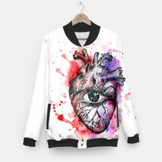 The heart Baseball Jacket #fuckyou #fashion2017 #bomber #hatersgonnahate #art #blackandwhite #artistic #howtowear #instaartoftheday #myart #jacket #fashion #black #musthave #popular #endiart #streetstyle #heart #humanheart