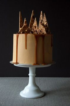 Sticky Toffee Cake with salted caramel, caramelised pecans and crushed toffee Caramac bark baked by Jane