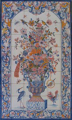 Tiles, Jar, XVIII Century, by Azulejos de Azeitão tiles. Hand made art from Portugal.