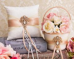 Rose Gold Ring Bearer Pillow, Flower Girl Basket, Blush Wedding Basket and Pillow Set, Rhinestone Flower girl Basket Absolutely gorgeous ring pillow and flower girl basket set. Pillow and basket can be purchased separately. All other accessories can be purchase in my store