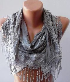 Light Grey Lace and Elegance Shawl / Scarf  with Lace by womann, $17.90